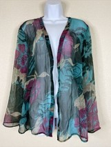 Additions By Chico's Womens Size 2 Sheer Floral Shrug Cardigan 3/4 Sleeve  - $19.80