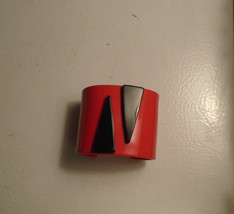 Large RED with Black wedges on top Mid Century Modern Bangle - $84.15