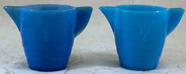 2 Akro Agate Stacked Disc Teapots 1 Light Blue 1 Medium Blue - $16.99