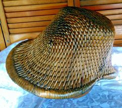 Vintage Chinese Willow Market Basket w/ Wooden Handle image 11