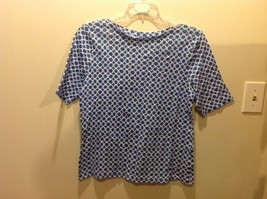 Charter Club Luxury Blue White Patterned Half Sleeve Top Sz XL