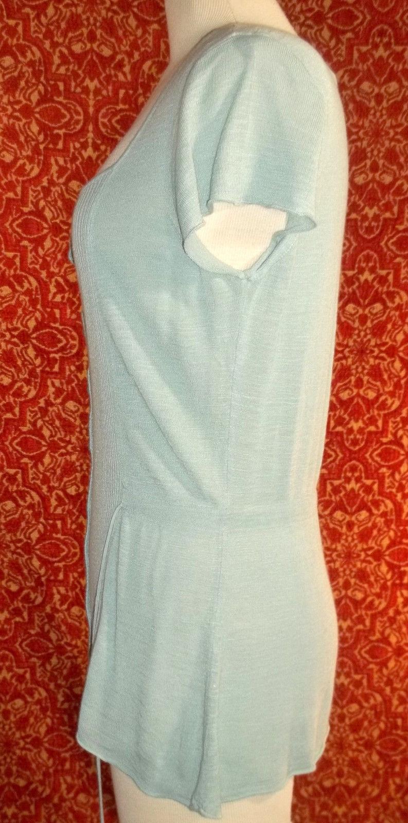 NWT ALFANI soft rayon blend sea foam green cap sleeve tunic blouse M (T17X3B8G)