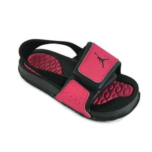 Jordan Hydro Toddlers 487574-609 Black Pink Logo Slide Sandals Baby Size 8C