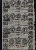 Franklin Silk Company Uncut Sheet $5 & X Four Unc Rare US Notes - $299.00