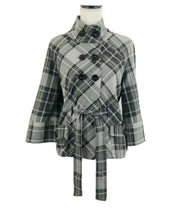 APT 9 English Plaid Women's Jacket Sz S Double Breasted 3/4 Sleeves Tie ... - $23.83