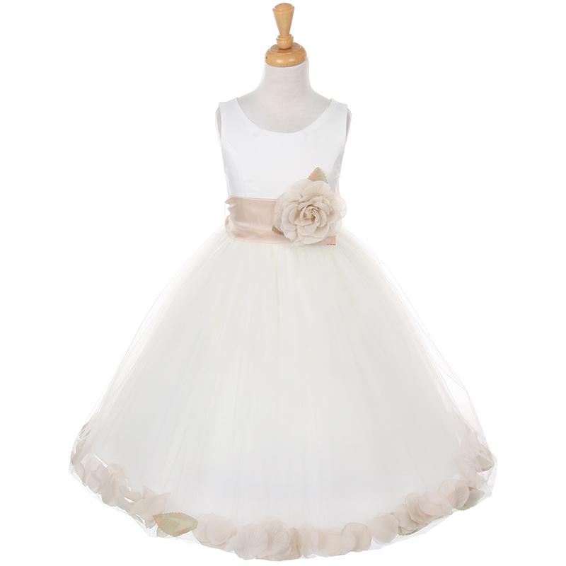 Ivory Satin Bodice Layers Tulle Skirt Burgundy Flower Brooch & Petals Girl Dress