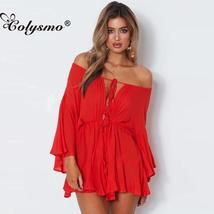 Colysmo Sexy Loose Shoulder Joint Pants Solid Color Casual Tie Waist Playsuits W - $49.80