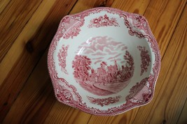 """Johnson Brothers 8.25"""" Pink White Square Old Britain Castle Earthenware Bowl - $17.10"""