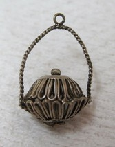 Vintage Sterling Silver Basket Charm Open Filigree Metal Sweet Dr3 - $24.74