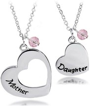 BNQL Mother Daughter Heart Necklace Set Mommy and Me Jewelry Gift (Mother set)
