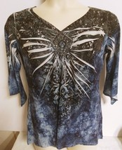 Chicos 2 top blouse shirt Large black blue 3/4 sleeve V neck embellished... - $19.79