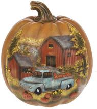 Scenic Harvest Truck On The Farm 8 Inch Polystone Pumpkin Figurine - $62.70