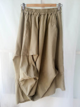 Khaki Linen Ankle Length Skirt Loose Elastic Waist Boho LINEN COTTON SKIRTS NWT image 5