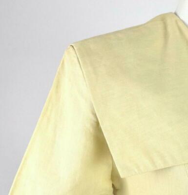 Vintage 80s Beige Cream Maxi Dress Cracker Jack Collar Short Sleeve Retro Size M image 7