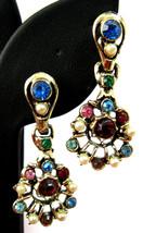 Boho Dangle Earrings Multicolor Rhinestones Faux Pearls Screw Backs 1950s - $18.00