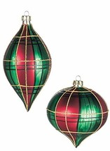 Sullivans Red and Green Plaid Onion and Drop Christmas Ornaments, Set of... - $79.97