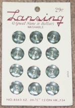 """BUTTONS LANSING 12 GREY PLASTIC BUTTONS SIZE 20 #8563 1/2"""" VINTAGE MADE ... - $3.00"""