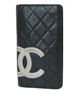 Authentic CHANEL Black Quilted Leather CC Long Wallet Coin Purse #38030B - $259.00