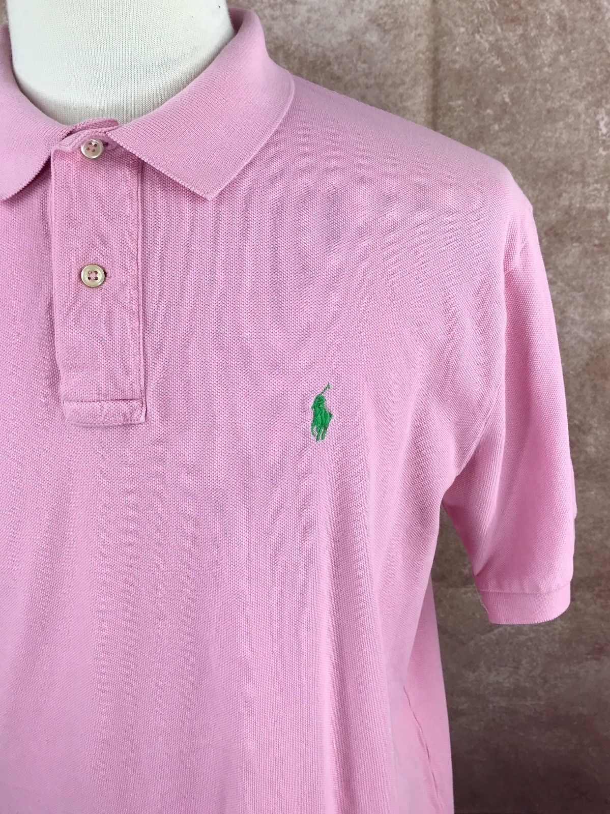 Polo Ralph Lauren Short Sleeve Mesh 100% Cotton Pink Shirt Men's L