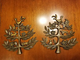 """Tree of Life Set of 2 Vintage 1963 Wall Art Plaques 14"""" x 14"""" - $75.00"""
