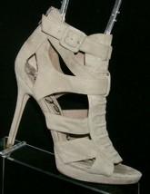 Sam Edelman Emyln gray suede lace up rear zip sandal platform heel 8M - $32.37