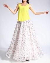 Summer MAXI Floral SKIRT Women White Flower Maxi Chiffon Skirt Long Beach Skirt image 2