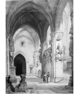 GERMANY Interior of Bamberg Catehdral & Horseman - SUPERB 1843 Antique P... - $39.60