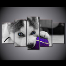5 Pcs Blue Eyes Husky Dog Home Decor Wall Picture Printed Canvas Painting - $45.99+