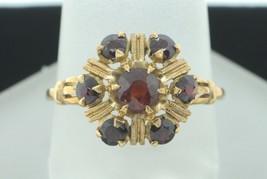 Art Deco (ca. 1925) 10K Yellow Gold Hand Chased Garnet Ring (Size 8 1/8) - $215.00