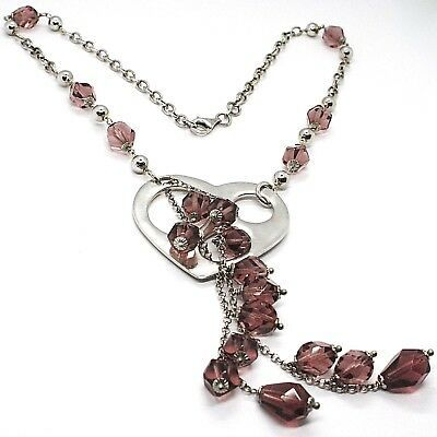 SILVER 925 NECKLACE, HEART PERFORATED PENDANT, BUNCH NUGGETS PURPLE