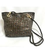Vintage Bottega Veneta intrecciato woven lambskin shoulder tote bag. Bronze - $432.00