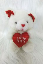 "7"" I Love You Bear White Red Sitting Holding Heart Plush Toy John Henry ... - ₹853.64 INR"