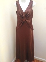 Davids Bridal 8 Brown Cognac Gown Shawl Long Formal Bridesmaid Dress Hol... - $39.18
