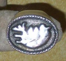 OLD COIN SILVER 828 SIGNET RING JEWELRY ICELAND JON DALMANNSSON JD FOLK ... - $365.00