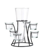 *15367B  Circular Iron 6 Cup Candle Stand With Glass Vase - $18.95