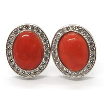 Boucles D'Oreilles 925, Ovale Zirconia, Corail Rouge Cabochon, Made In Italy image 1