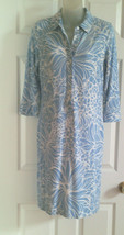 Talbots Stretch Knit Dress PS Rayon Spandex Blue White Floral Print - $11.87