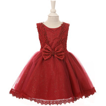Burgundy Satin Glittered Tulle Embroidered Pearls Bodice and Bow Baby Gi... - $40.00
