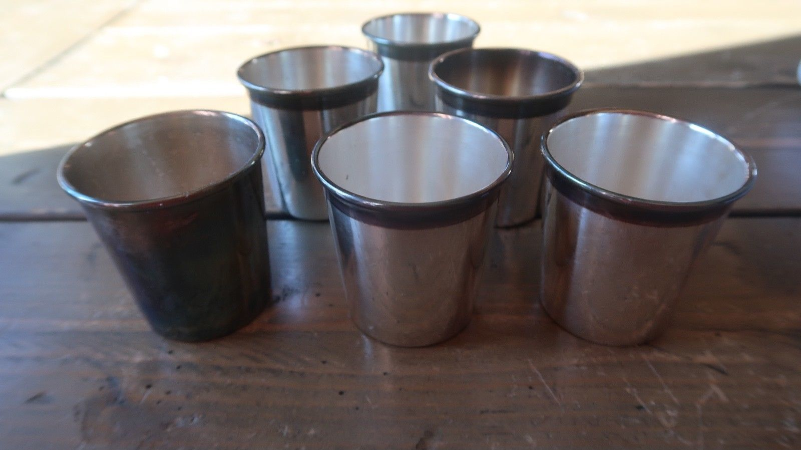 Primary image for GOOD Set of SIX ~ SILVER Plated ~ Small CUPS ~ c1950 2.25 x 2.25 inches