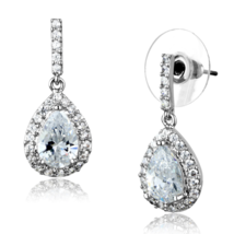 Women's Brass Synthetic AAA Grade CZ Clear 10,6 mm Dangle & Drop Earrings - $21.70
