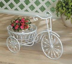 Small Old Fashioned White Bicycle Plant Stand Indoor Outdoor - $32.62