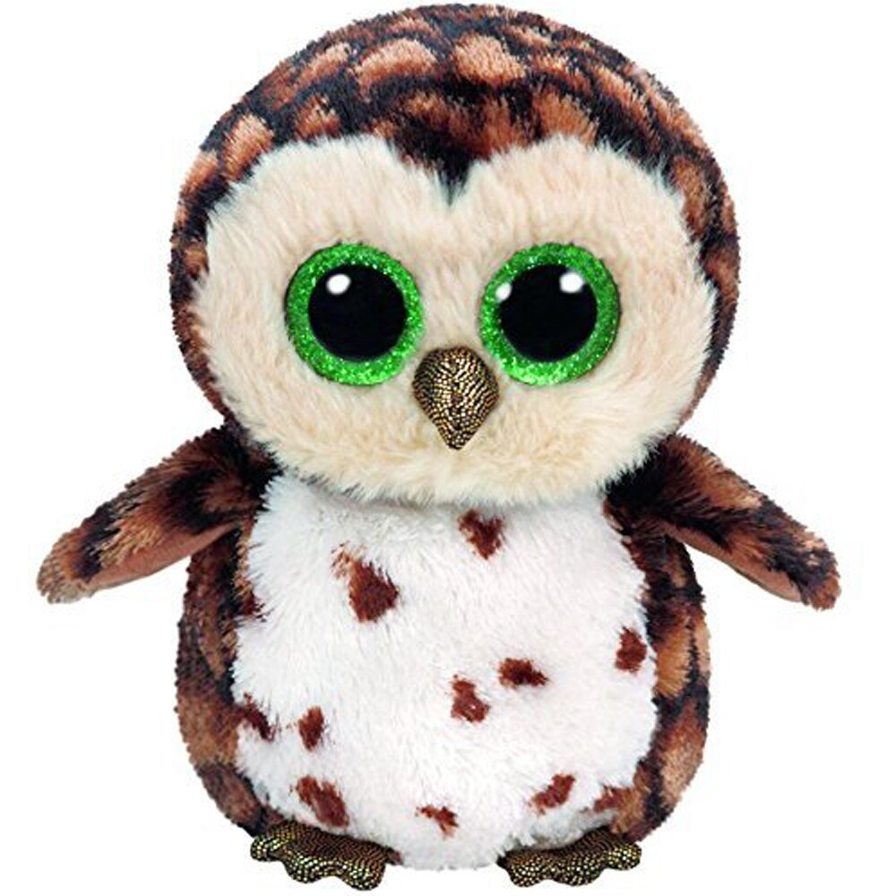 "Pyoopeo Original Ty Boos 10"" 25cm Sammy the Brown Owl Plush Medium Big eyed Stuf"