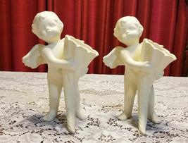 "Cherubs Holding Cornucopia Vases Figurine Statues 9"" High - $29.99"