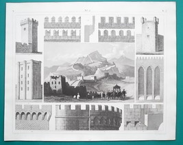 MILITARY Fortifications China Great Wall Medieval Elements - 1844 Superb... - $21.60