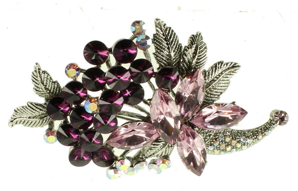 Primary image for VINTAGE SILVER TONE MAUVE PINK PURPLE & AB CRYSTAL RHINESTONES PIN 3""
