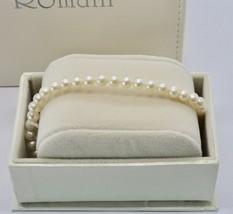 Bracelet en or Blanc 18KT et Argent 925 avec Perles 5.5 6 mm Beau Boîte image 2