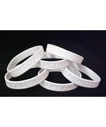 Blindness Awareness Support Bracelet White 6 pc Lot New - $9.57