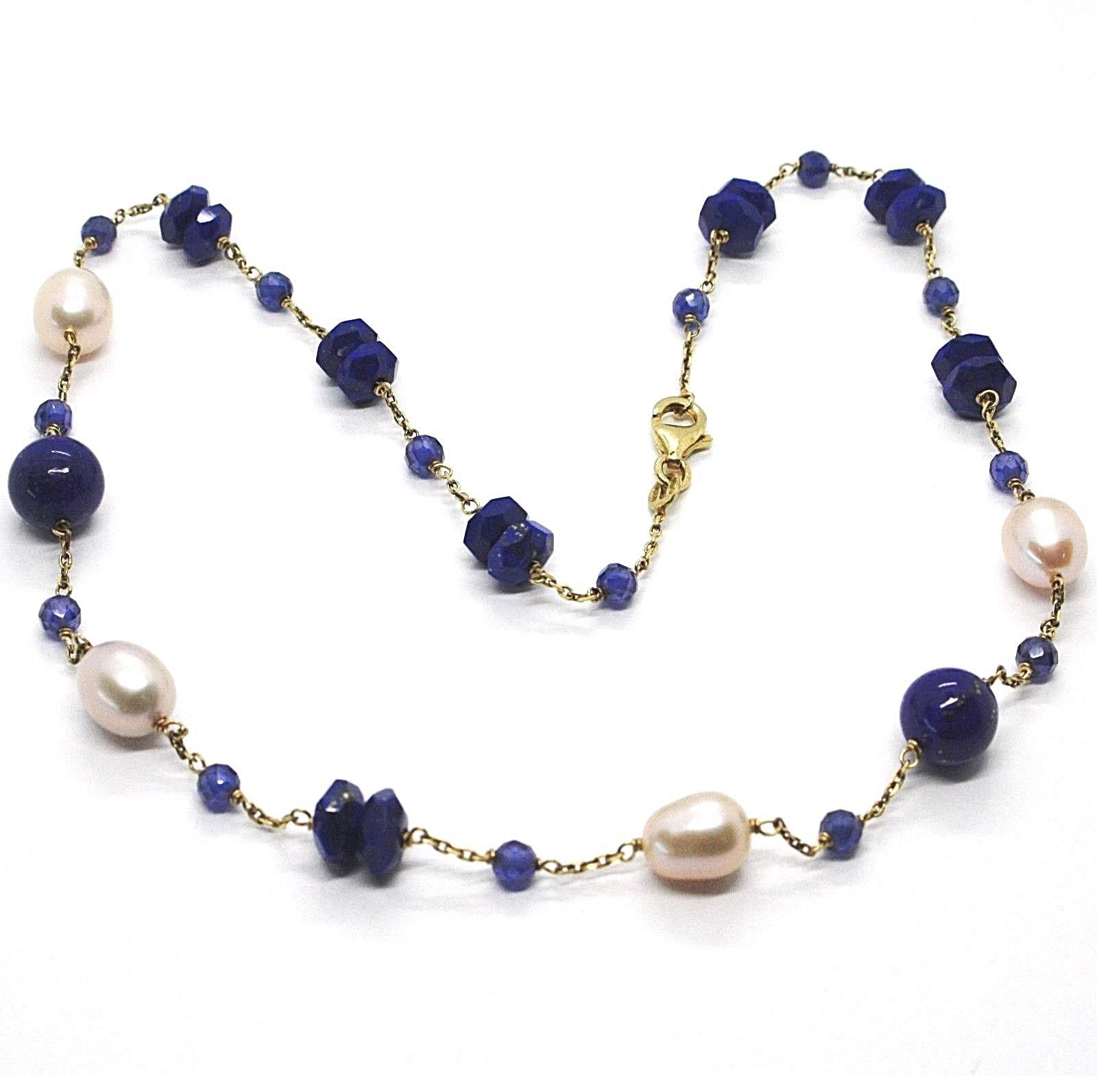 Silver necklace 925, Yellow, Blue Lapis Lazuli Disk and spheres, Pearls, 45 cm