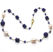 Silver necklace 925, Yellow, Blue Lapis Lazuli Disk and spheres, Pearls, 45 cm image 1