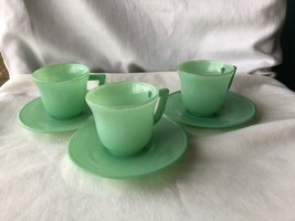 3 Vintage Green Platonite Childs Cups And Saucers - $15.99
